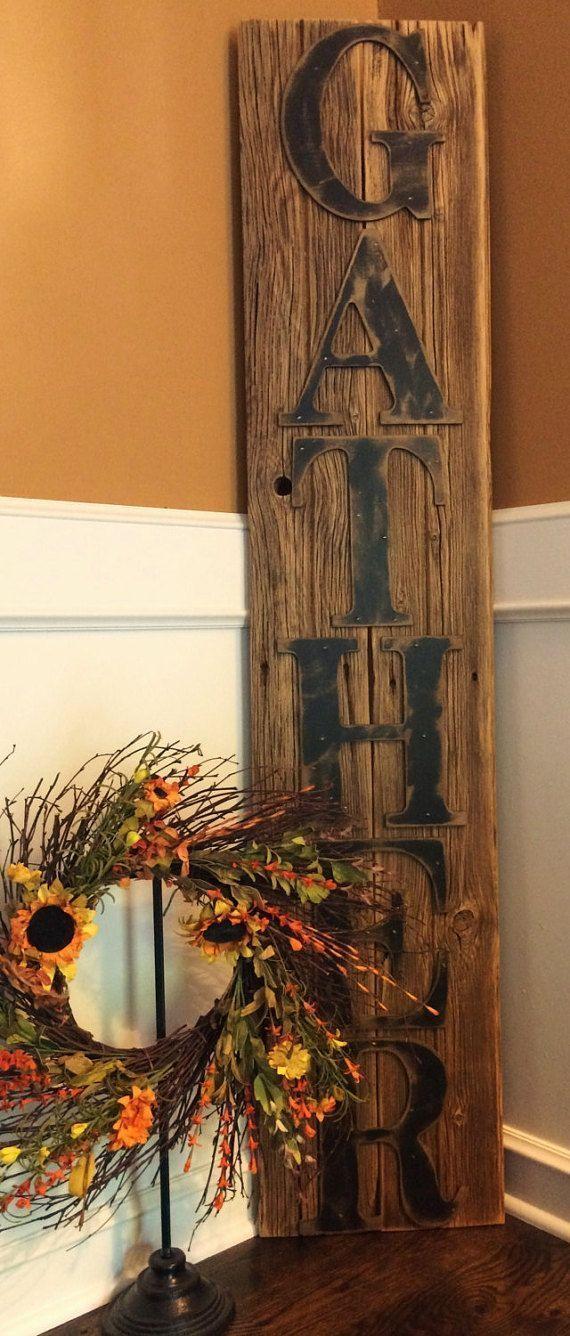 Rustic GATHER Sign on Reclaimed Barn Wood Vertical, Farmhouse decor, Rustic decor, rustic wood wall art, farmhouse style #ad #affiliatelink