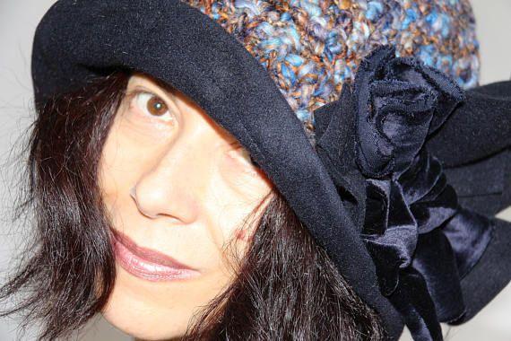 cappello donna feltro lana uncinetto velluto perline hand made