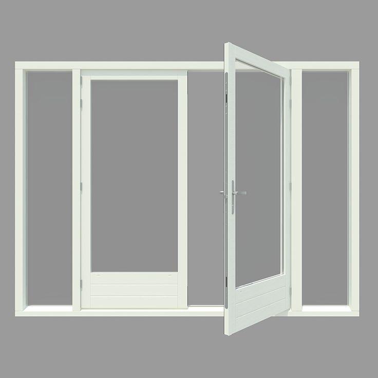 Tuindeur kozijn met 2x zijlicht inclusief 1 stel afgehangen tuindeuren. - Houten Kozijn Online