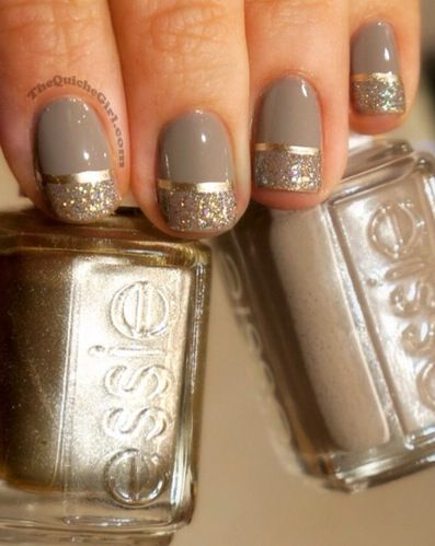 pretty nail art love the gold line with the gold sparkles and the gray/neutral base.