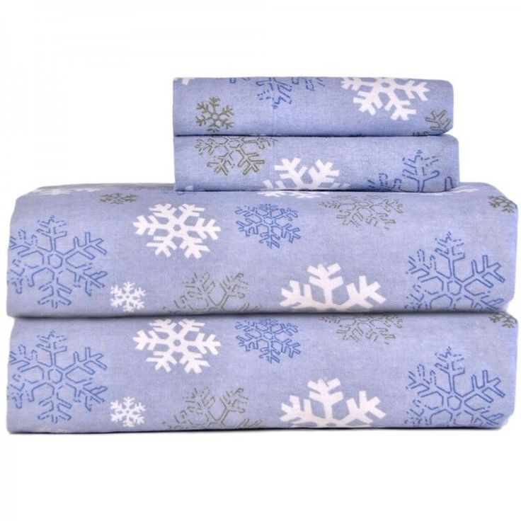 TwinXL Flannel Sheet Set Snow Flake Winter Warm Flat Fitted Cotton Bedding Home  #Pointehaven #Traditional