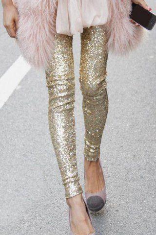 Stylish Elastic Waist Sequined Leggings For Women Leggings | RoseGal.com Mobile
