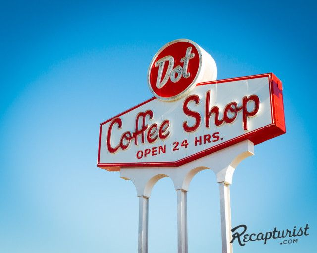 Dot Coffee Shop (Houston, TX). Vintage sign photography by Recapturist. Purchase as a print or canvas. http://www.recapturist.com/portfolio/dot-coffee-shop/