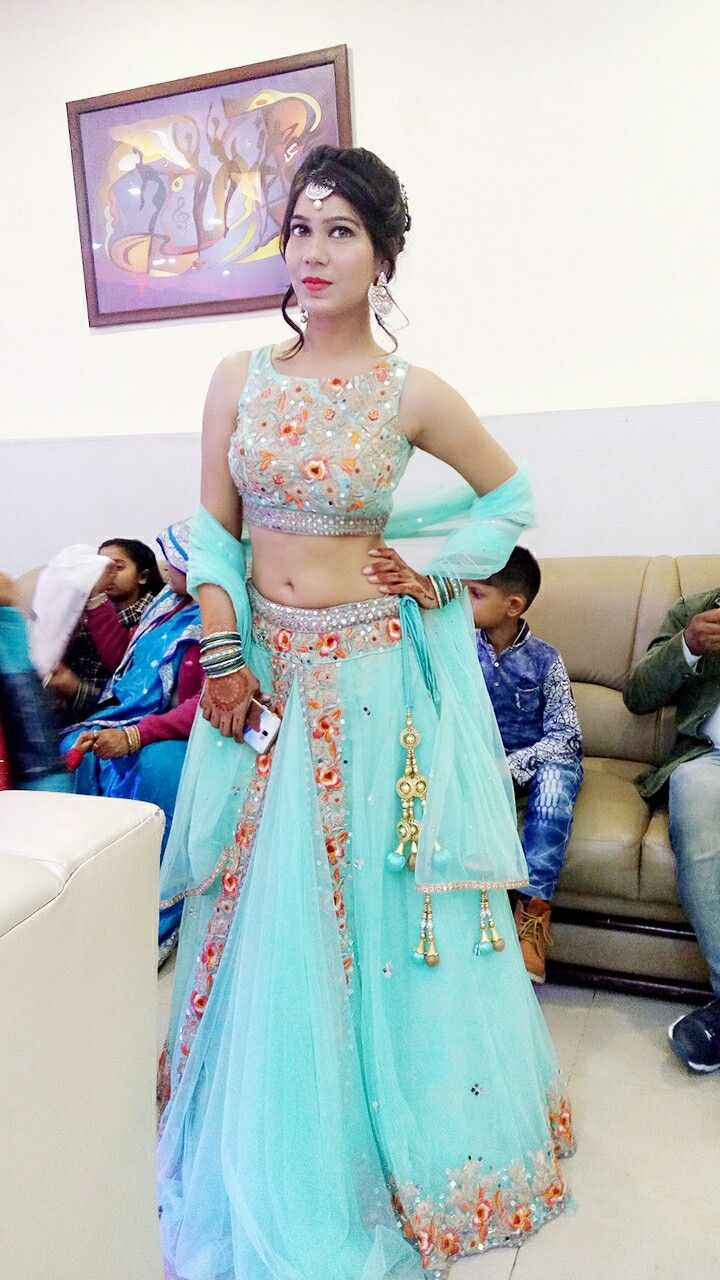 Simple and elegant sea green colour lehnga 💖