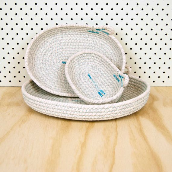 Dish Set // OVAL // Custom Colour // Cotton Rope // Wedding Present, Housewarming, Clutter Catcher, Jewellery Holder, Organiser, Tray Basket