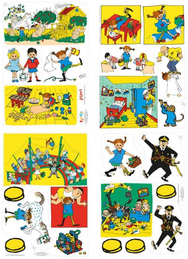 Fantisera, lek och berätta din egen Pippisaga! Insidan av väsklocket är klätt med filt för att fästa de tillhörande Pippibilderna i flano/flanellograf.