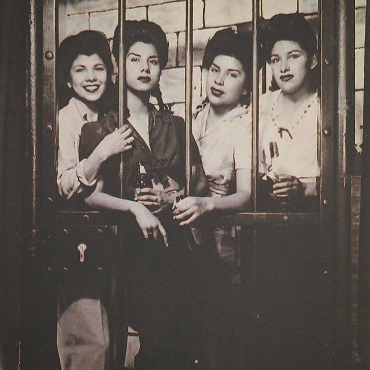 Photo info: 1940s Pachucas  Arti, Alice, Becky and Helen from Pasadena CA. Photo taken at a photo booth on the Santa Monica Pier Date: 1944 Photo: @thephilth Thank you for submitting photos to the open call and for sharing your stories and part of your lives with us.—Guadalupe Rosales (of @veteranas_and_rucas And @map_pointz) #LACMAInstaResidency