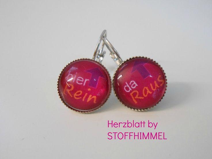 """Ohrringe - ♥ OHRRINGE """"HIER REIN - DA RAUS"""" by HERZBLATT ♥ - ein Designerstück von STOFFHIMMEL bei DaWanda"""