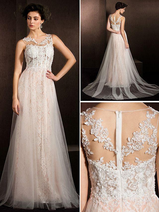 Lanting Bride® A-line Petite / Plus Sizes Wedding Dress Court Train Jewel Lace / Tulle with - USD $129.99