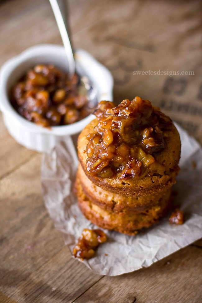 Baked bananas foster doughnuts with a brown butter walnut compote topping- the most divine breakfast ever!