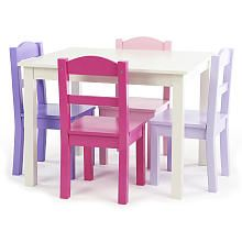 Tot Tutors Forever Girls Wood Table And 4 Pink/Purple Chairs Set