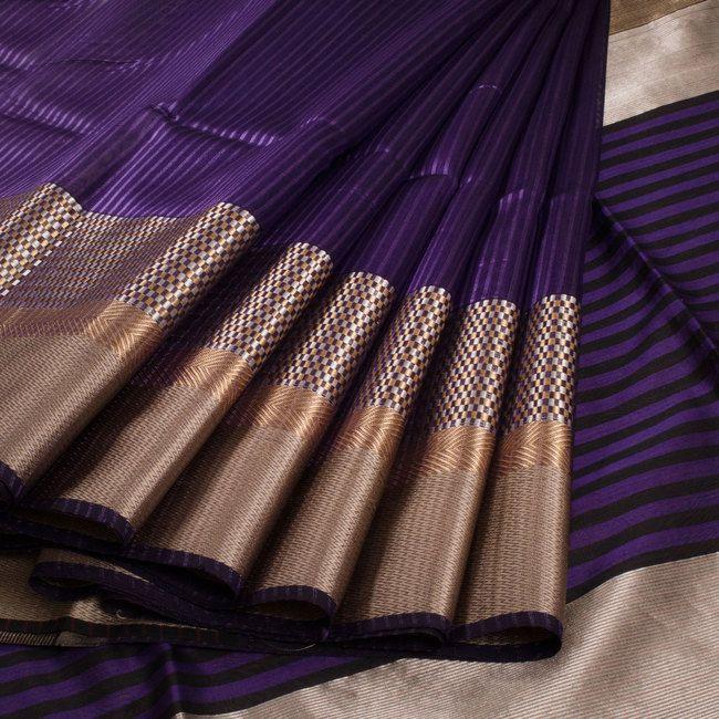 Ghanshyam Sarode Violet Handwoven Silk Cotton Saree With Striped Pallu 10009581 - profile - AVISHYA.COM