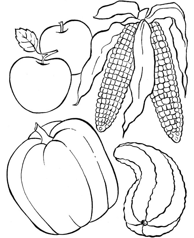 Thanksgiving Dinner Feast Coloring Pages