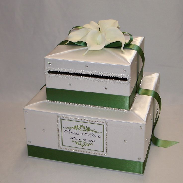 Elegant Wedding Card box-White and Clover Green-White Calla Lilies-Rhinestone accents by ExoticWeddingBoxes on Etsy https://www.etsy.com/listing/252339337/elegant-wedding-card-box-white-and