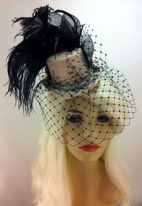 Bridal Mini Top Hat Fascinator Burlesque English Net Veil Peachy Champagne And Black Unforgettab