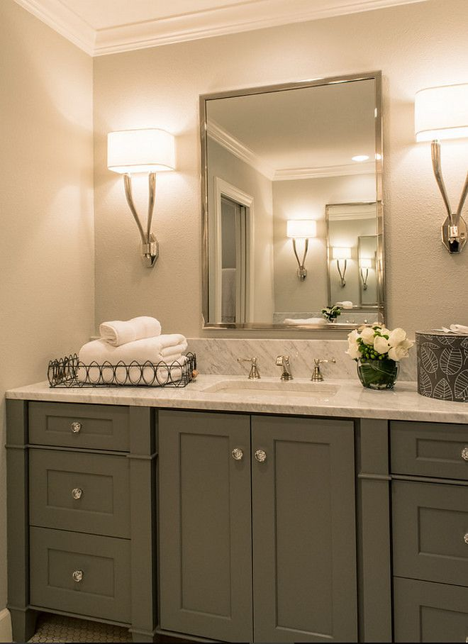 Small Bathroom Cabinet Painted In Grey And White Carrara Marble Countertop