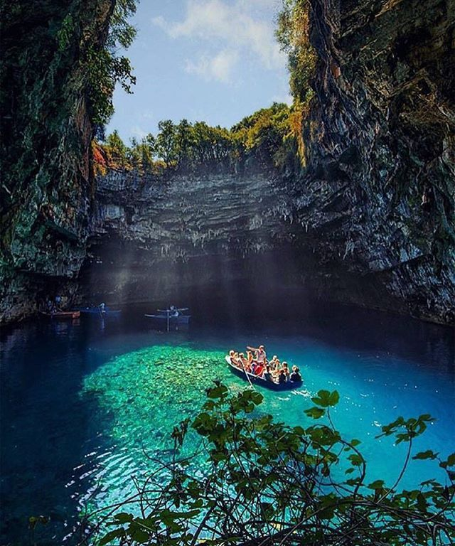 Melissani Cave, Kefalonia, Greece!  Photo by @kyrenian #MelissaniCave #Kefalonia #Greece