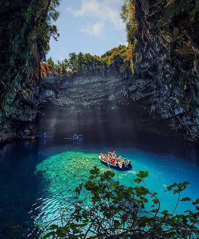 Melissani Cave, Kefalonia, Greece!  Photo by @kyrenian #MelissaniCave #Kefalonia #Greece