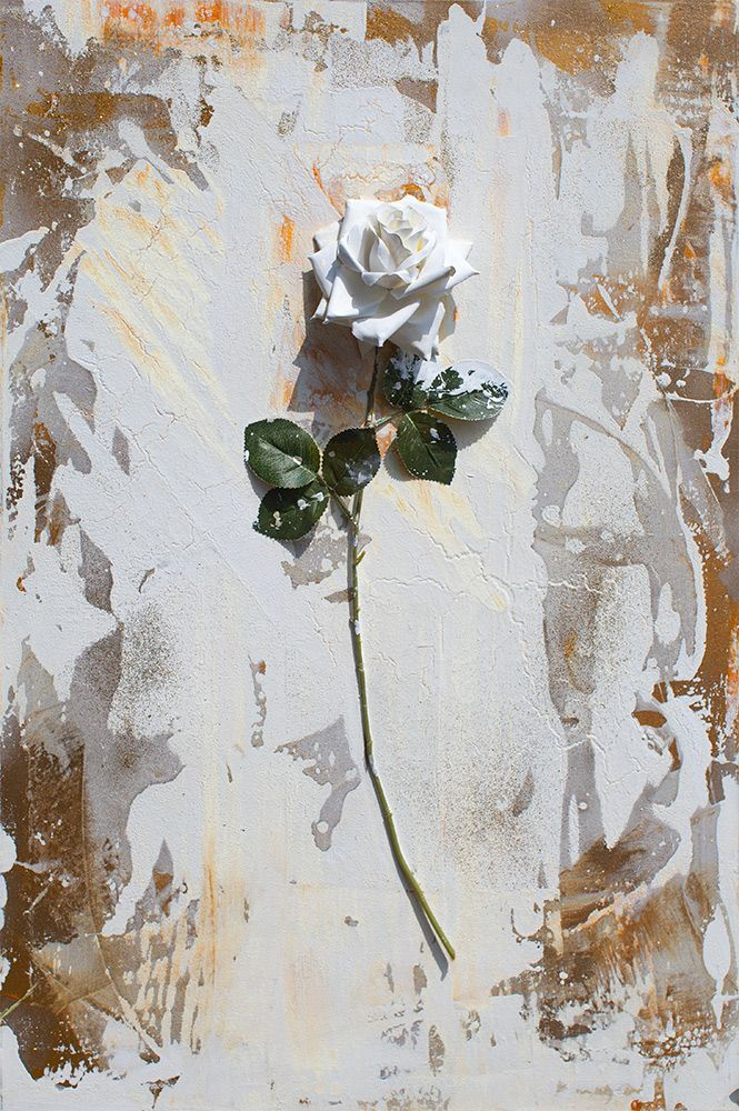 Art Gift. Mixed Media Art White Floral Painting Gray Textured Art