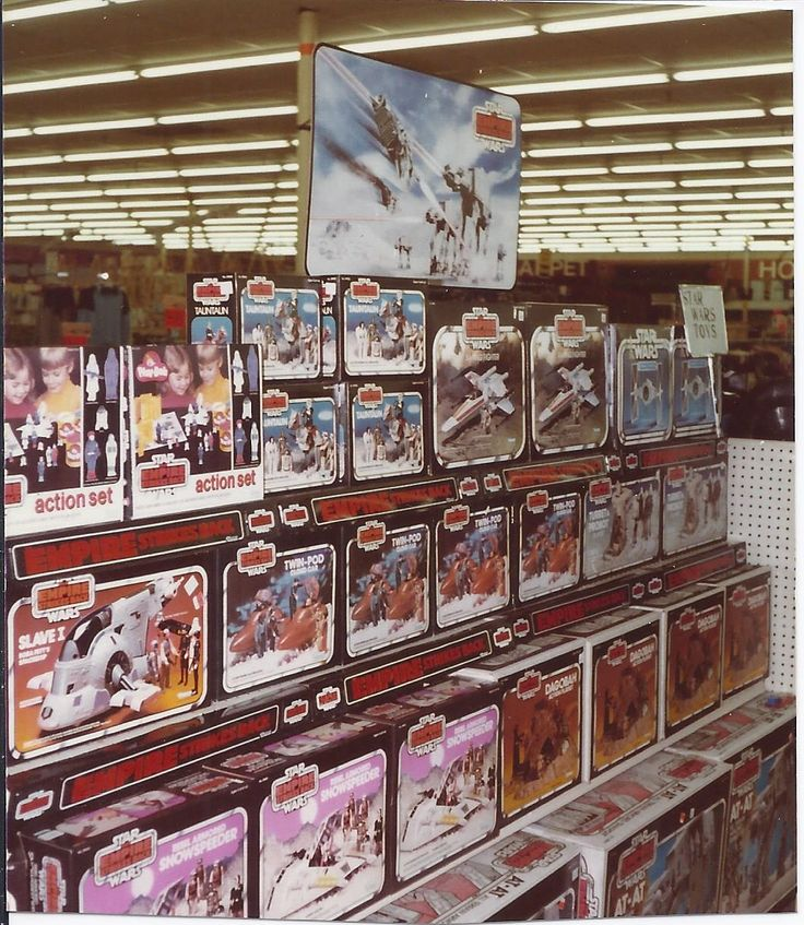 "Shelves, stocked with toys from Kenner's ""Star Wars: The Empire Strikes Back"" line, reportedly from Cincinnati, OH on 11/20/1981."
