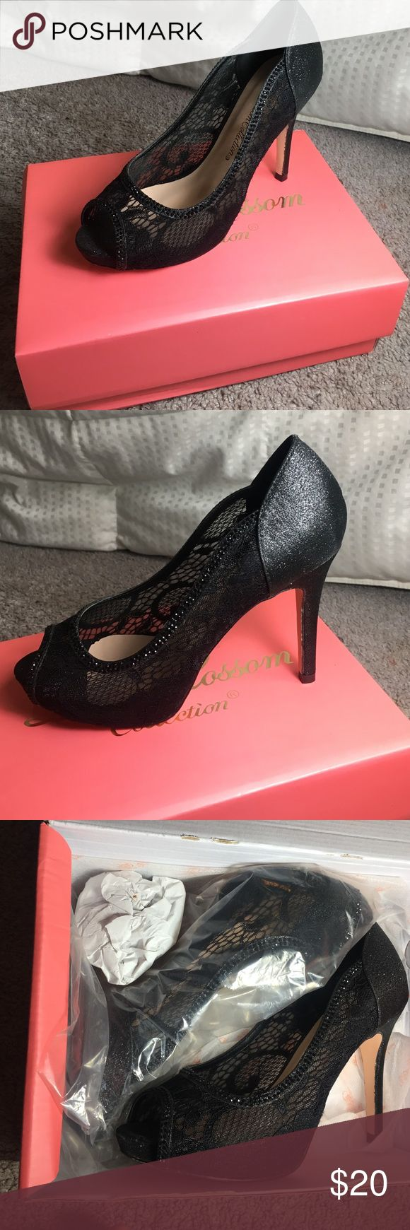 Lace heels Black lace heels with a glittery heel brand new in the box have not worn at all Shoes Heels