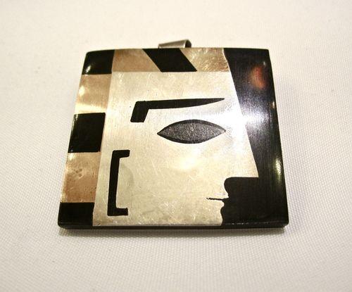 Brosche/Anhänger Silber Mexiko 60´er Jahre, Azteke, Silver Art Deco onyx brooch/pendant Mexico 1960´s