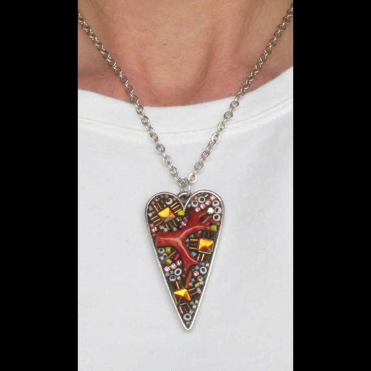 Fancy Large Heart Pendant with Coral