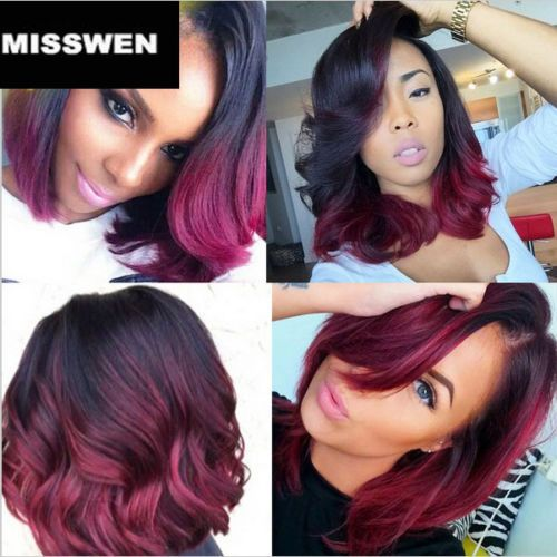 """14"""" Heat resistant Lace front wig Synthetic hair Bob wavy Ombre1B/Bug color"""
