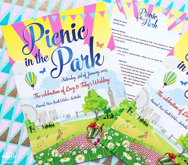 Picnic in the Park Wedding Invitations http://www.wedfest.co/picnic-in-the-park-wedding/
