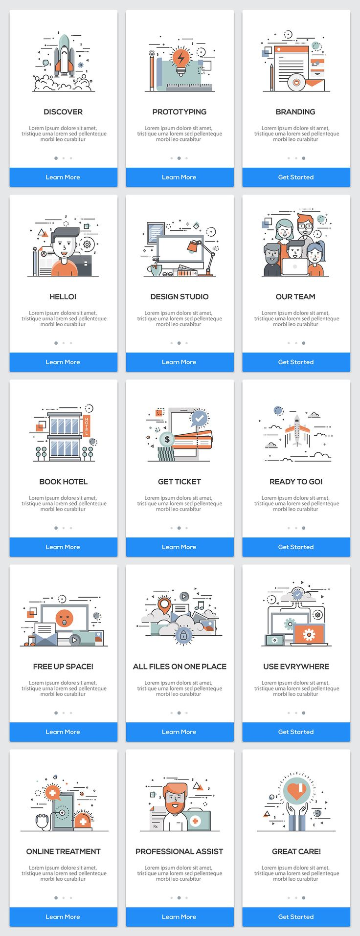 15 Onboarding Screens for App by Creative Graphics on @creativemarket