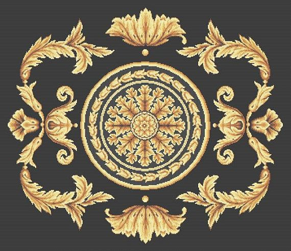Luxury in golden black French Style Aubusson Pillow Cushion