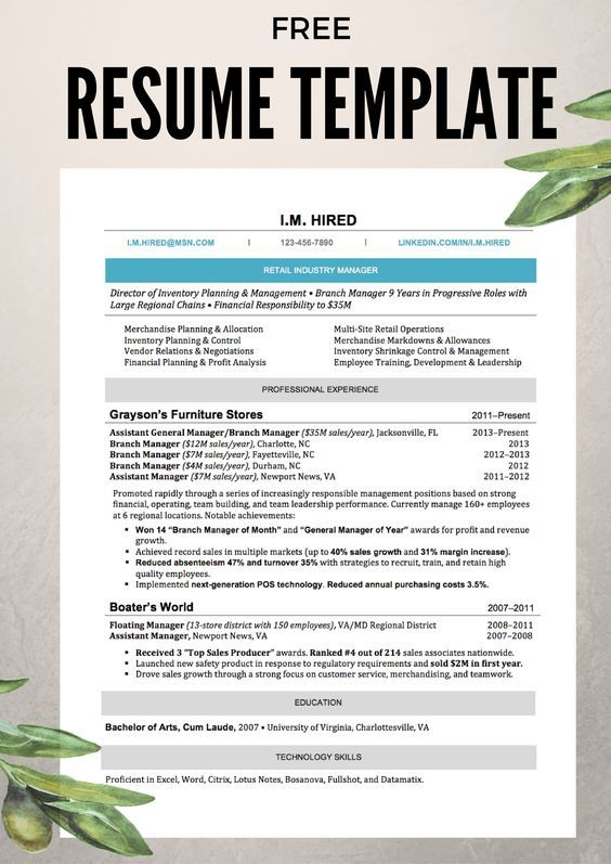 Money Magazine's free resume template available to download for Word