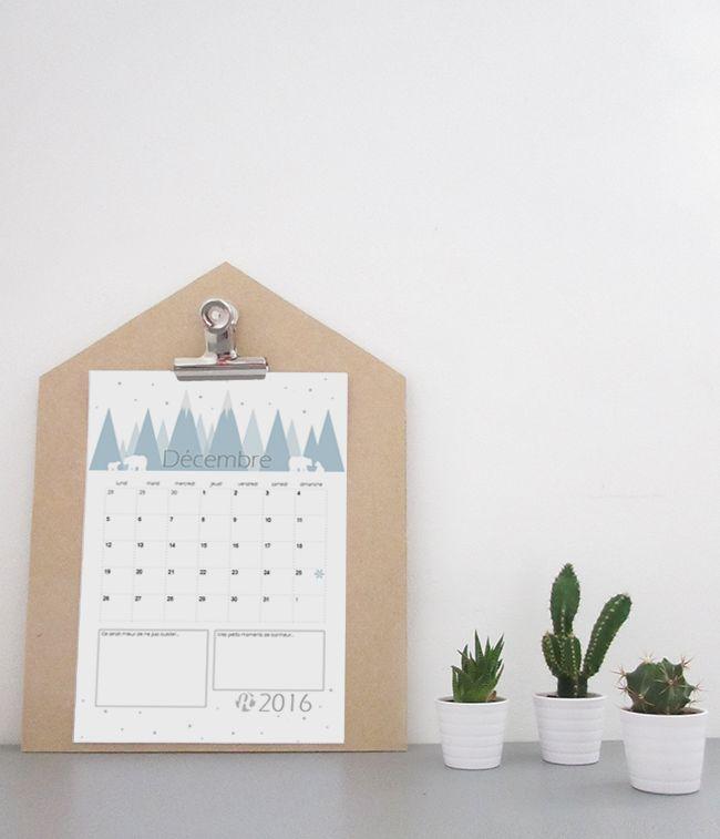 Calendrier du mois de décembre 2016 à imprimer • Potentiel Creatif