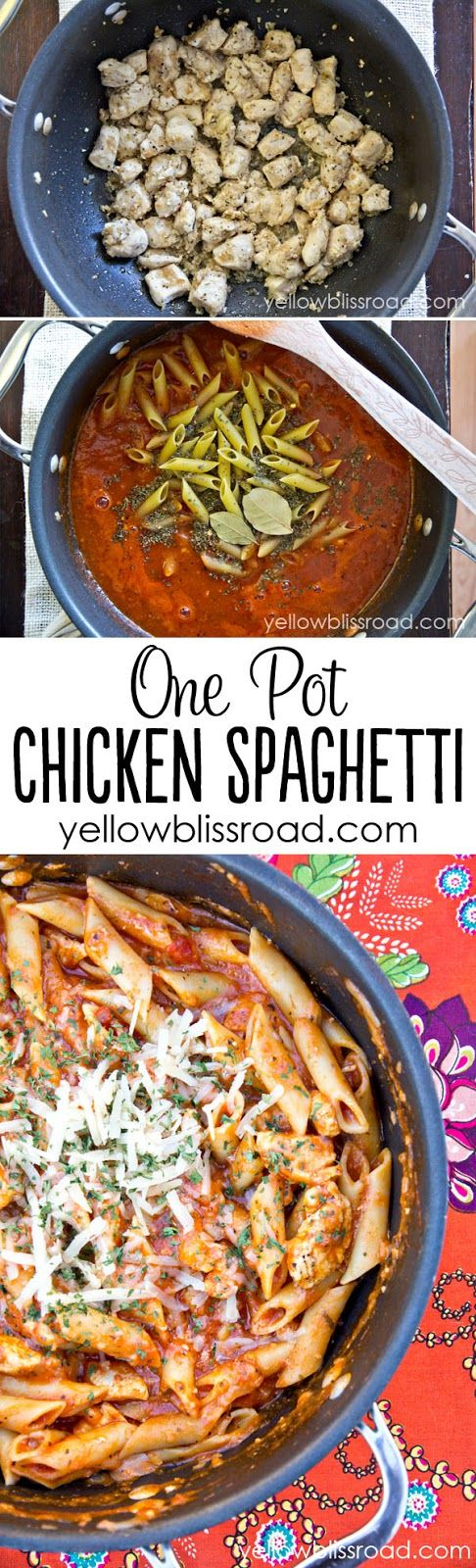 One Pot Chicken Spaghetti Pasta - The entire meal cooks in one pot, for a quick meal and easy clean up!
