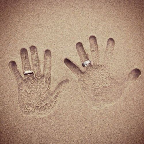 Sand hand print marriage