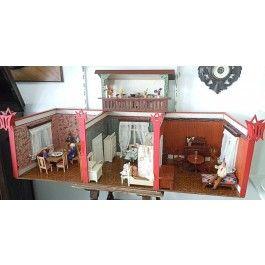 puppenstube 3 r ume mit balkon m bel und puppen 20 30er jahre antikes spielzeug pinterest. Black Bedroom Furniture Sets. Home Design Ideas