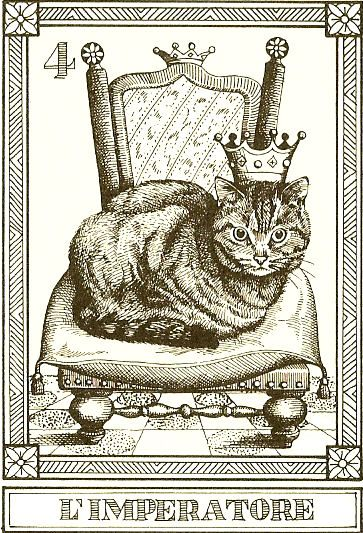 """""""L'Imperatore"""" -- Gatti, by Osvaldo Menegazzi. The deck of 22 tarot cards was published by Il Meneghello in Italy in 1990."""