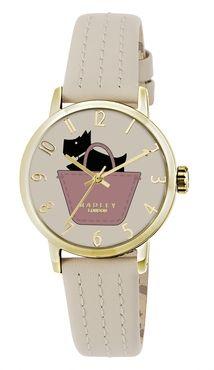 Radley Ladies Pink Basket Stitched Cream Leather Strap Watch RY2288