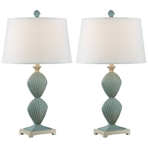 Stacked Clam Shell Glacier Blue Table Lamp Set of 2