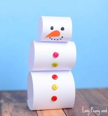 Easy DIY paper snowman - Christmas kids craft // Egyszerű papír hóember -  kreatív ötlet gyerekeknek // Mindy - craft tutorial collection // #crafts #DIY #craftTutorial #tutorial #KidsCrafts #CraftsForKids #KreatívÖtletekGyerekeknek