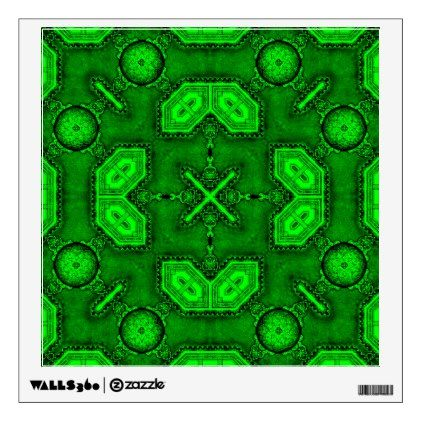 Victorian Art Deco Medieval Pattern bright green Wall Decal - walldecals home decor cyo custom wall decals