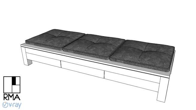 Large preview of 3D Model of Seat 1.90x0.70