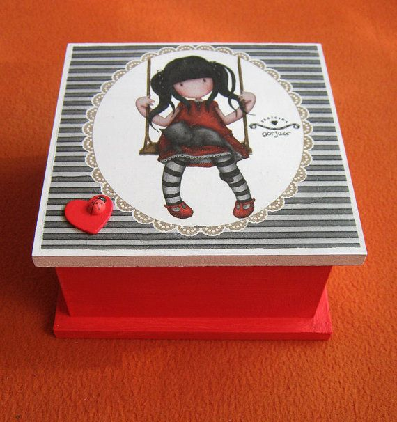 Gorjuss girl - Gift for her - Jewelry box - Unique gifts - Decoupage box - Jewelry Storage Box - kids gift - girl gifts - Valentine - decor