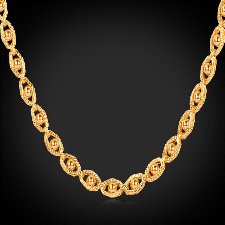 """Cheap necklace with heart pendant, Buy Quality necklace bride directly from China necklace with halter dress Suppliers:                               Men's Necklace Accessories 18K Gold Plated With 18K Stamp 5MM 55CM 22"""" Cl"""
