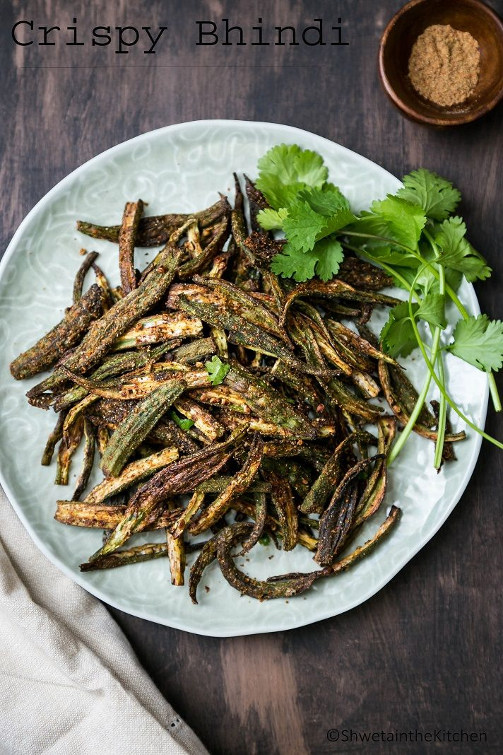 CrispyBhindi is a super easy Indian appetizer/snack made by baking Okra in the oven and