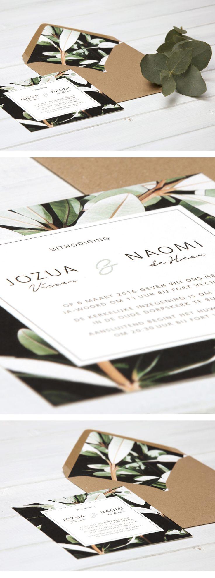 Weddinginvite, Weddinginvitation, Envelope Liners, Green, Kraft, Trouwkaart