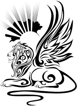 Tribal Lion Tattoo...Maybe without the sun and rays in the background. Just the lion and wings.