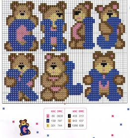 Teddy alphabet pattern (G-M)