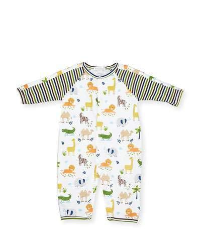Kissy Kissy Jungle Jaunt Pima Coverall, Multicolor, Size 9-24 Months