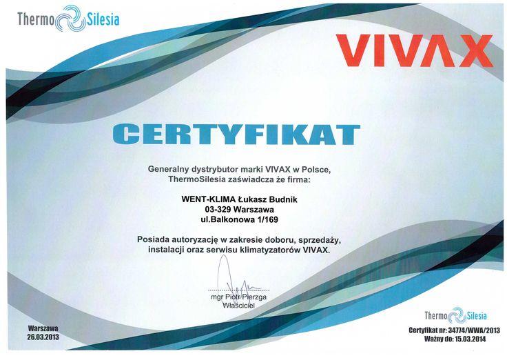Certyfikat z firmy Vivax